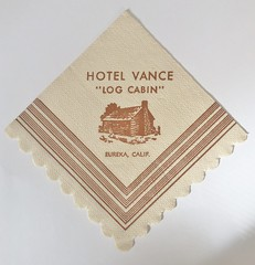 HOTEL VANCE LOG CABIN EUREKA CALIF (ussiwojima) Tags: hotelvancehotelthe log cabin bar cocktail lounge eureka california advertising napkin