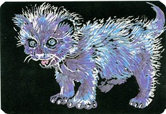 Blue Moon Kitty - Postcards for the Lunch Bag (Life Imitates Doodles) Tags: postcardsforthelunchbag blackpaper metallicpen