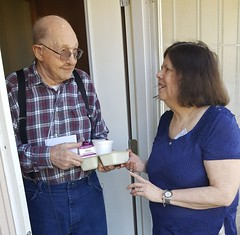 Camille delivers Happy Spring card with Meals on Wheels
