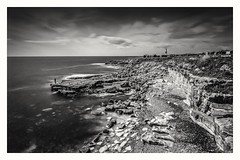 Fisherman and the Coast (Andy J Newman) Tags: monochrome bw bandw blackandwhite coast d810 dorset fisherman jurassic lighthouse longexposure man nikon portland sea seaside isleofportland england unitedkingdom