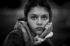 Stare ({jessica drossin}) Tags: face jessicadrossin portrait blackandwhite monochromatic freckles eyes hair hand scarf wwwjessicadrossincom