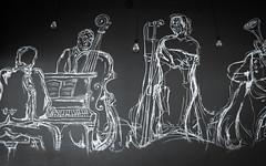 Jazz Band (eskayfoto) Tags: canon eos 700d t5i rebel canon700d canoneos700d rebelt5i canonrebelt5i lanzarote playablanca rubiconmarina marinarubicon islascanarias canaryislands bar restaurant café mural picture band music jazz jazzband sk201903027064editlr sk201903027064 monochrome mono bw blackandwhite