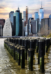 Posts and Reflections (Anthony Mark Images) Tags: posts brooklynbridgepark manhattanskyline reflectionswater eastriver bigapple nyc newyork manhattan brooklyn reflections water shadows nikon d850 flickrclickx
