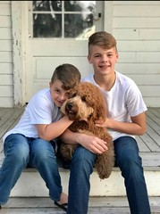 Lucy Lu's Rusty with 2 of his favorite humans!
