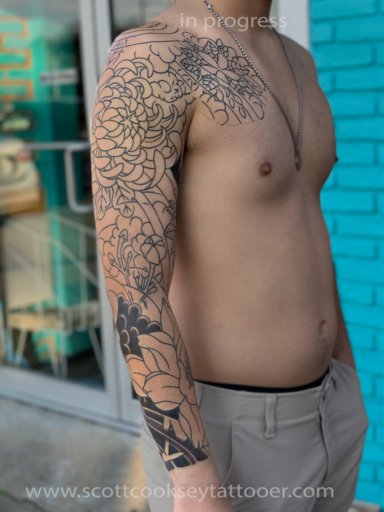 6a986a885 Irezumi Floral sleeve by Scott A. Cooksey of Lone Star Tattoo in Dallas, TX