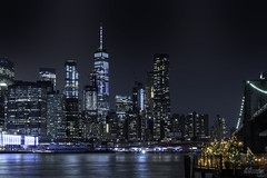 Manhattan Skyline with Fairy Lights At Night New York City 01 (Barbara Brundage) Tags: manhattan skyline with fairy lights at night new york city 01