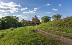 Abandoned Church. (Oleg.A) Tags: grass spring penzaregion russia church nature dome tree orthodox sky valley ruined shadow landscape sunset old brick outdoor belogorka evening light destroyed sun blue colorful ancient abandoned sunny forest green building cathedral skyscape countryside design architecture field
