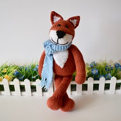 Mr Foxington (Knitting patterns by Amanda Berry) Tags: fox foxes toy toys knit knits knitter knitters knitted knitting pattern patterns hand handmade make maker makers making craft crafts crafting deramores ravelry yarn wool dk flat straight red orange white blue 8ply