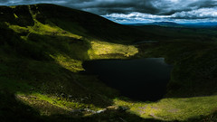 Waterfall of Light (Mountain Bracken) Tags: 2019 comeraghs lake landscape lough outdoor rocks sgillogeloughs spring water clouds green hiking ireland loch mountain munster sky stones waterford
