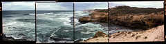 Jubilee Point (Aaron Amodt) Tags: mamiya645 mediumformat 120 kodakektar100 ocean coast beach water panorama homedevelopment australia sorrento indianocean film analog photostitch summer sublime waves surf rocks danger