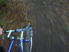 Off Road Fun (cycle.nut66) Tags: bicycle steel frame blue bob jackson touring drop bars handlebars mafac levers wheel campagnolo record esge chromoplastic panansonic liumix lx3 leica summicron cycling moving movement path bridlway blur spinning off road