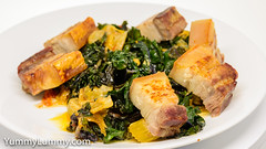 Crispy pork belly with steamed red kale, red endive, and drumhead cabbage. (garydlum) Tags: cabbage carrot celery chillies cream endive fishsauce kale oystersauce pork sesameoil springonion tomato canberra australiancapitalterritory australia