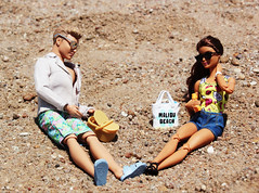 Day at the Beach (Tee-Ah-Nah) Tags: barbie doll made move madetomove ken couple beach sand honeymoon picnic basket sunscreen sunny outdoors sunglasses side ponytail swimming suit jean shorts trunks