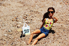 Soakin' up the Sun (Tee-Ah-Nah) Tags: barbie doll made move madetomove beach sand sunny outdoors sunglasses side ponytail bag sandals pose swimming suit jean shorts