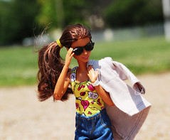 Sexy Babe (Tee-Ah-Nah) Tags: barbie doll made move madetomove beach sand sunny outdoors sunglasses side ponytail pose jacket swimming suit jean shorts sexy babe