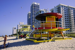 Unusual and iconic things destroyed by hate and vandalism. (Aglez the city guy ☺) Tags: miamibeach miamifl sobe seashore architecture afternoon beach building vandalism urban colors walking lifeguardhut sand outdoors