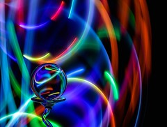 Colour Swirls (Karen_Chappell) Tags: color colors colours colour multicoloured led light glow glowing ball orb sphere round circle glass longexposure lightpainting blue green red orange refraction colourful black stilllife yellow pink purple spectrum abstract