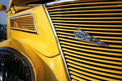 That Certain Glow (~ Liberty Images) Tags: classiccar ford v8 yellow hotrod carshow automobile libertyimages vintagecar americanmetal saffron grille chromeography