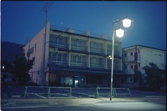 (✞bens▲n) Tags: pentax lx kodak ektar 100 carl zeiss 35mm f24 flektogon film analogue negative dark night building nagano japan