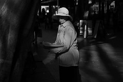 Hidden Eyes (cupitt1) Tags: shade lady eyes shadow hat chinese chinatown blackwhite dark mysterious contrast contrasty street sydney australia fujixpro1 candid