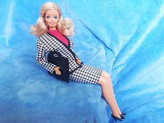 Barbie Custom Outfit 9: Working Girl (VintageZealot) Tags: barbie mattel daytonight day to night 1984 7929 cool career 5789 fashion finds 2740 1991 1990 1989 1990s 1980s 80s 90s vintage retro doll clothing clothes outfit superstar super star blonde caucasian model modelling taiwan velcro tie jewelry ring earring earrings diamond crystal rhinestone business suit jacket blazer coat skirt pumps halter top shirt power dressing office case brief suitcase briefcase working work place workplace houndstooth black white hot pink fuchsia leather pleather faux vinyl