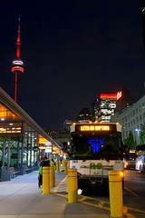 Night of NBA Finals Game 1 (wyliepoon) Tags: downtown toronto union station bus terminal commuter go transit coach cn tower skyline skyscraper rbc centre night light red lighting nba finals basketball final game 1 raptors golden state warriors wethenorth we north one 2019 royal york hotel