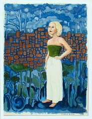Singing to the Moon (M.P.N.texan) Tags: paint painting art woman acrylic acrylics handpainted original mpn