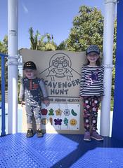 Scavengers (evaxebra) Tags: ash luna park blue playground play ground scavenger hunt hat hats batman