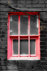 Pink window / Black wall (swampzoid) Tags: pink black window old brick painted glass