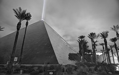 Not exactly the Great Pyramid of Giza (PeterThoeny) Tags: luxorhotelcasino luxor lasvegas lasvegasstrip nevada usa casino pyramid palm palmtree outdoor light beam lightbeam blackandwhite monochrome sony a6000 selp1650 3xp raw photomatix hdr qualityhdr qualityhdrphotography fav100