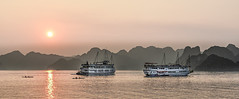 sunset over the Ha Long Bay (micheltomy) Tags: sky sunset water outside landscape nikkor mountain asia vietnam halong along boat cloud