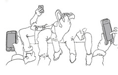 Ginza Line, Tokyo. April 2019 (stevefaradaysketches) Tags: ginzaline underground publictransport passengers people mobilephone urbansketch urbansketchers usk inkdrawing illustration fineliner onlocation penandinksketch