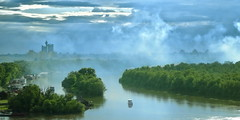 Smoke on the Water (Marija Mimica) Tags: kalemegdan view belgrade forest fog blue green city panorama nature boat