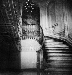 (Victoria Yarlikova) Tags: monochrome fomapan iso400 doubleexposure stairs film analog 120mm holga plasticlens toycamera epsonv700 scanfromnegative experimental mediumformat lomo grain abstract torino