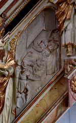 Wolfenbüttel, Niedersachsen, Hauptkirche, pulpit, stairs, 1st flight, detail (groenling) Tags: wolfenbüttel niedersachsen nordrheinwestphalen nrw germany deutschland de hauptkirchebeataemariaevirginis hauptkirche pulpit kanzel stairs treppe wood carving woodcarving holz saint heilige birth nativity geburt nativitas jesus mary maria king könig magi shepherd hirt