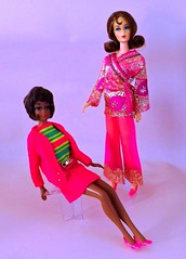 NEW CHRISTIE AND MARLO (ModBarbieLover) Tags: barbie mod christie fashion doll mattel 1968 1967 1969 house pink stripes case groovy toy