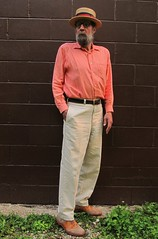 5-31-2019 Today's Clothes (Michael A2012) Tags: this mans summer style vintage fashion boater straw hat hemisphere linen cotton hush puppies suede saddle oxford