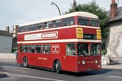 Devon General Omnibus & Touring Company Ltd . 887 887ATA . Newton Abbot Bus Station , Devon . July-1972 . (AndrewHA's) Tags: bus coach devongeneral devon leyland atlantean metcamm 887 887ata route 11