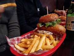 Loch Ness fish burger AUD15 with drink - Highlander Bar, Melbourne - Minh's (avlxyz) Tags: fish burger chips fries