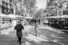 Barcelona - even busy at 9am ! (NSJW photos) Tags: barcelona street spain shops vendors morning trade trading touting people public cafes holiday vacation cruise monochrome blackandwhite bw nsjwphotos
