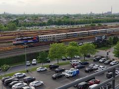 Baseball and trains (P.F. Zuzich) Tags: metra chicago train illinois whitesox guaranteedratefield railroad railfan baseball emd f40 commutertrain