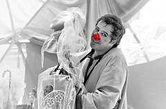 Poetic clown (Behappyaveiro) Tags: santamariadafeira aveiro portugal europe clown artist spanishartist hojasalvento imaginarius festival poeticclown digitalmanipulation red rednose