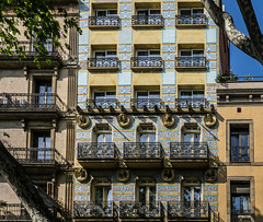 Barcelona - architecture (NSJW photos) Tags: barcelona spain tiles facade tiled colours balconies balconey balustrade ornate ironwork architecture building house holiday vacation cruise nsjwphotos
