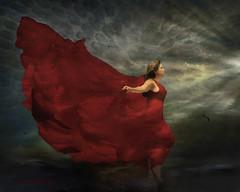 Leap of Faith (WayneToTheMax) Tags: faith leap red dress woman lady relationship trust growth development storm sky jump seagull light life family job spiritual