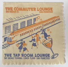 THE COMMUTER LOUNGE & THE TAP ROOM SAN FRANCISCO CALIF (2) (ussiwojima) Tags: thecommuterlounge thetaproom bar cocktail lounge sanfrancisco california advertising napkin