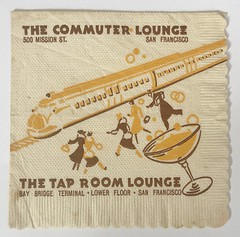 THE COMMUTER LOUNGE & THE TAP ROOM SAN FRANCISCO CALIF (ussiwojima) Tags: thecommuterlounge thetaproom bar cocktail lounge sanfrancisco california advertising napkin