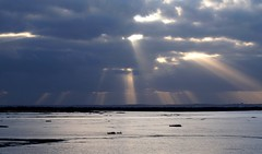 sunbeams at low tide (evablanchardcouet) Tags: clouds sky rays rayons sun sunbeams lowtide groupenuagesetciel