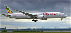 (Liverpool F C exodus to Madrid) Ethiopian Airlines Boeing 787-9 Dreamliner (ET-AUP) Liverpool John Lennon Airport 31st May 2019 (Cassini2008) Tags: liverpooljohnlennonairport ethiopianairlinesboeing7879dreamliner championsleaguefinal2019 aviation ethiopianairlines etaup
