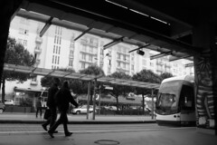 [Aveladenn] ([ Ana ]) Tags: brittany bretagne breizh nantes naoned building bw wb tram tramway town city station verkehrsmittel bâtiment monochrome matin morning morgen strase street strasenbahn stadt people gens person personnes photographie photograph photography photo