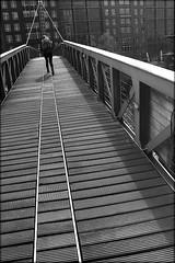 rails of war (bostankorkulugu) Tags: fusssteg footbridge hamburg germany europe deutschland bw bostankorkulugu bostanci bostan blackwhite blackandwhite monochrome hansestadt hanseatic building buildings architecture speicherstadt hafencity river water windows street bridge elbe elb canal